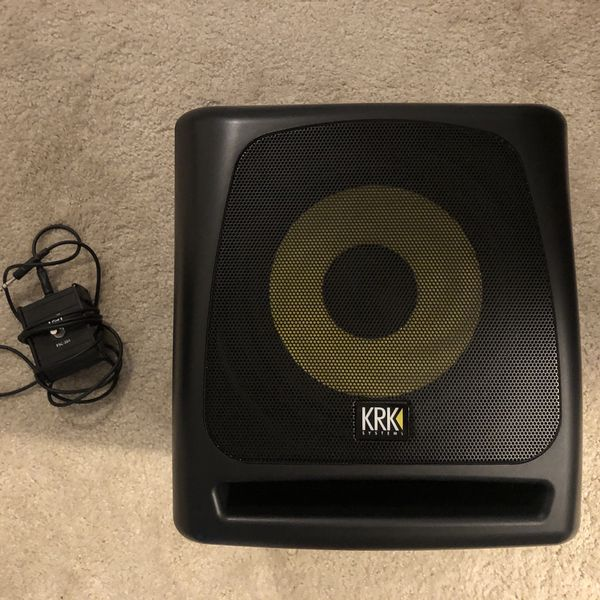 KRK 10s powered subwoofer with crossover and foot switch
