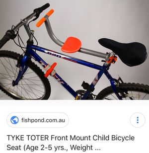 Tyke Tiger bike seat for kids age 2 to 5. My toddler loved it. Very safe and easy to install. I have all the parts. for Sale in Alameda, CA