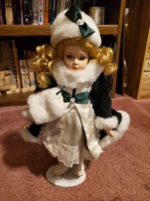 """Beautiful Porcelain Christmas Doll 15""""Tall with the stand for Sale in Las Vegas, NV"""