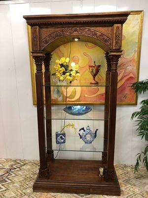 Hand Carved Wood China Display Curio Cabinet Book Shelves (Delivery Service Available) for Sale in Boynton Beach, FL