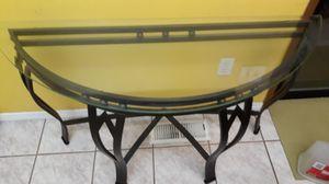Half moon glass table in black metal for Sale in Auburn, WA