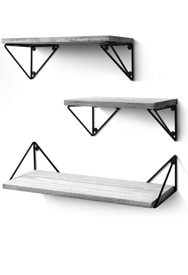 Floating Shelves Wall Mounted Set of 3, Rustic Wood Wall Shelves for Living Room, Bedroom, Bathroom