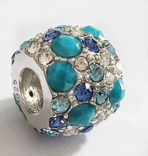 Solid 925 Sterling silver Swarovski crystal paved Turquoise blue charm , fits on Pandora bracelet for Sale in Tucson, AZ