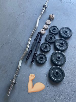 40lbs of weights dumbbells and curl for Sale in Garden Grove, CA