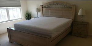 Free Mattress + boxspring.Antique white king size bed.Comes with 2 night stands and 1 chest of drawers. for Sale in Germantown, MD