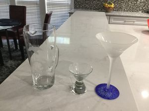 Grey Goose Martini Glasses (x 6), Pitcher and Shot Glass - Collectible! for Sale in Smyrna, GA