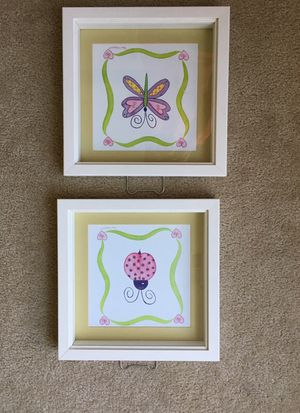 2 wall decor pictures for girls room for Sale in Chesapeake, VA