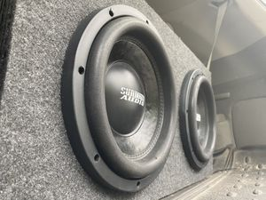 """2 10"""" sundown audio subs with box and amp. 4,000watts max for Sale in Randolph, MA"""