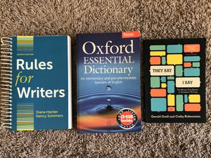 Rules for writers, They say I say, Oxford essential dictionary for Sale in Corona, CA