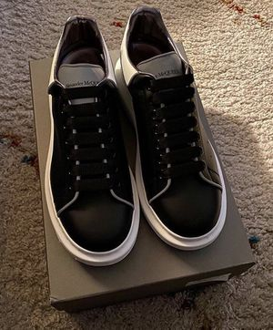 Alexander McQueen Black (reflective) White Reflective-trimmed Leather Exaggerated-sole Sneakers for Sale in Washington, DC