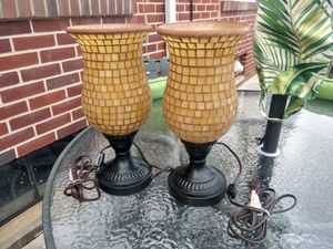 Pair of Glass Mosaic Lights/ Metal Bases for Sale in Hanover, PA