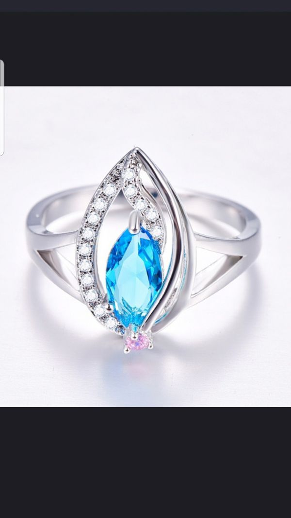 Sterling silver blue and white sapphire ring size 8