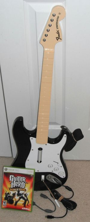 (NO dongle needed!) Xbox 360 Wired Guitar with game/strap/etc! for Sale in Williamsburg, VA