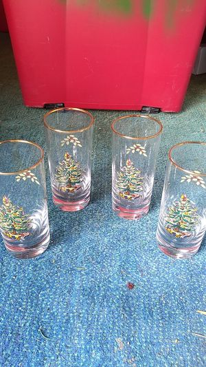 4 Spode Christmas holiday glasses trimmed in gold for Sale in Palmetto, FL