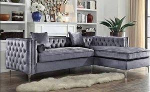 New Grey Velvet Sectional Sofa for Sale in Austin, TX