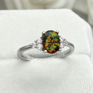 Oval Black Fire Opal Sterling Silver CZ Ring for Sale in Los Angeles, CA