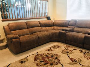 Brown 6pc Reclining polyester living room sectional for Sale in West Jordan, UT