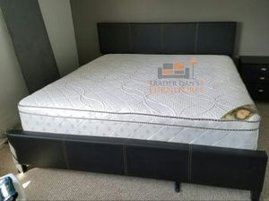 Brand New King Size Leather Platform Bed + Pillowtop Mattress for Sale in Wheaton-Glenmont, MD