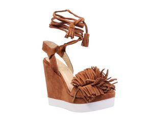 women's brown fringe wedges - real leather size 7 for Sale in Miami, FL