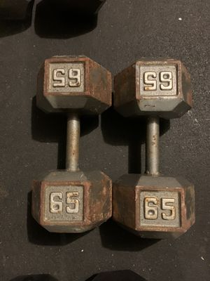 65 lb dumbbells weights - cast iron dumbells weight set for Sale in Cypress, TX