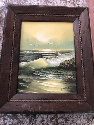 """18""""X22"""" Framed Oil Painting Ocean Waves Seagulls for Sale in North Royalton, OH"""
