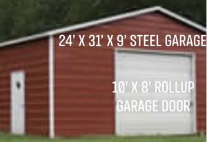 New 24' x 31' x 9' Steel Metal Garage Building for Sale in Stow, MA