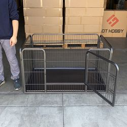 """$85 (new) heavy-duty dog pet playpen with plastic tray indoor outdoor cage kennel 4-panel, 49x32x28"""" for Sale in El Monte,  CA"""