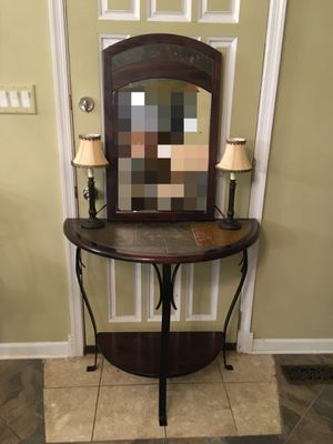 Brown Console Table + Mirror for Sale in Philadelphia, PA