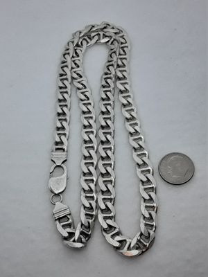 Real Solid .925 Sterling Silver Mariner Anchor Link Necklace 24 Inches for Sale in Hollywood, FL