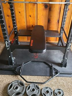 Ethos Weight Bench Barbell Weights Hex Bar for Sale in Crestline,  CA