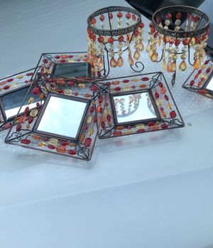 Pier 1 Decor Two Beaded votive candle holders and Five Decor beaded mirrors for Sale in Las Vegas, NV