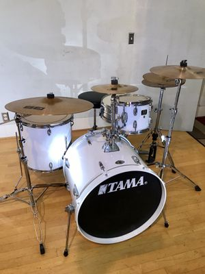 Tama Swingstar white on white Jazz drum set Swingstar steel snare Zildjian & Sabian cymbals Tama pedal & throne new sticks & key $520 in Ontario 91762 for Sale in Ontario, CA