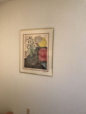 Original Monoprint by P, Cohn -bought unframed for $265.00- Selling with quality double matting and brass framing for $155.00- Ready to hang on t for Sale for sale  Oakhurst, CA