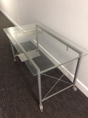 Glass Office Desk w/ Wheels Aluminum Metal Frame Lightweight - (Dimensions Listed) for Sale in Los Angeles, CA