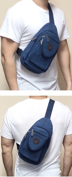 NEW! Canvas Dark Blue Crossbody/Shoulder/Satchel/Side Bag/Pouch For Everyday Use/Work/School/Traveling/Hiking/Biking/Fishing/Jogging/Gifts $16 for Sale in Carson, CA