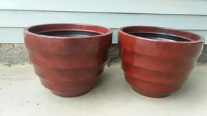 2 indoor/ outdoor burgundy planters for Sale in PLYMOUTH MTNG, PA