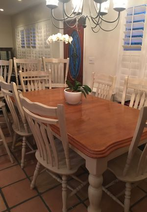 Solid wood table with leaf/6 chairs and 4 Tall bar stools for Sale in Hollywood, FL