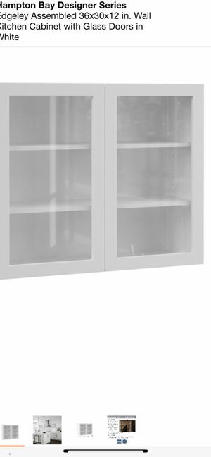 Hampton Bay Designer Series Edgeley Assembled 36x30x12 in. Wall Kitchen Cabinet with Glass Doors in White for Sale in Atlanta, GA