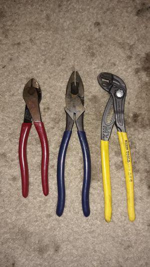 Klein Tool Adjustable channel locks, Klein Tool Diagonal pliers, Klein Tool pliers, all like new. for Sale in Watauga, TX