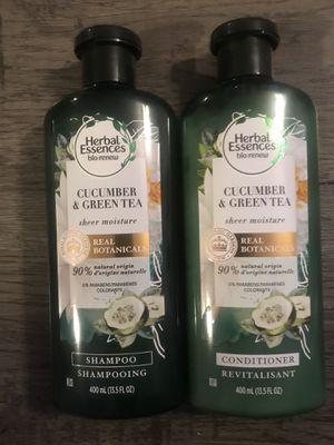 Herbal essences bio renew cucumber & green tea sheer moisture shampoo and conditioner set for Sale in San Bernardino, CA