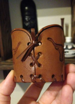 Mini vintage leather longhorn embossed candle holder / catch all dish / decor for Sale in Steilacoom, WA