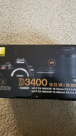Brand New Nikon D3400 Digital SLR Camera with 24.2 Megapixels and 18-55mm and 70-300mm Lenses Included for Sale in Irvine, CA