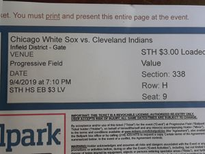 2 club seats for Cleveland Indians vs Chicago White Sox for tonight. 9/4/2019 for Sale in Valley City, OH