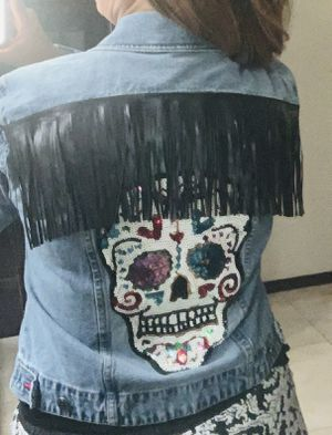 Skull with fringe Jean jacket for Sale in Palmview, TX