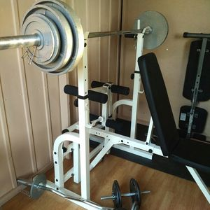 Weight / weight bench, squat rack, Olympic weight and bar, w-bar, dumbbells. for Sale in Vancouver, WA