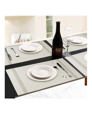 Placemat, Crossweave Woven Vinyl Non-Slip Insulation Placemat Washable Table Mats Set of 6(Light Grey) for Sale in Anaheim, CA