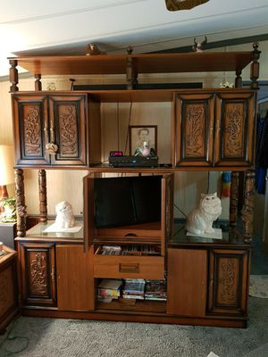 Carved antique oriental wall and furniture set.teakwood. for Sale in Murfreesboro, TN