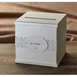 """Ivory Gift Card Box with White Lace and Cards Label - Ivory Textured Finish - Large Size 10"""" x 10"""" - Perfect for Weddings, Baby Showers, Birthdays, Gr for Sale in Las Vegas, NV"""