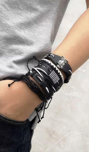 Multi Layer Leather Bracelet / Black-White for Sale in Dallas, TX