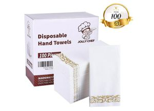 100 PACK Disposable Hand Towels, Decorative Bathroom Napkins, Soft and Absorbent Linen-Feel Paper Guest Towels for Kitchen for Sale in Rancho Cucamonga, CA